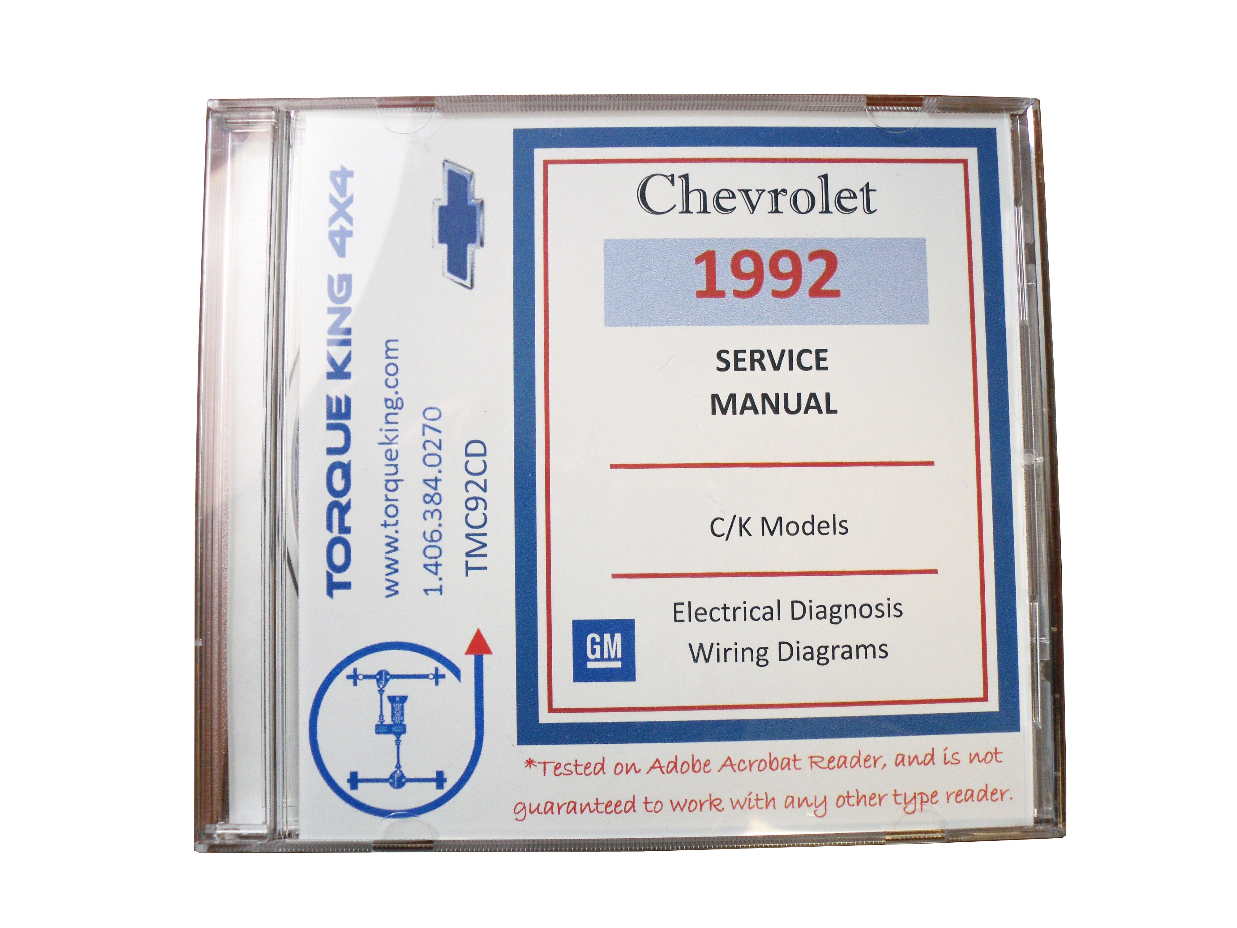 TMC92CD 1992 Chevy and GMC C/K Truck Factory Service Manual on CD for 1992  model year C1500, K1500, C2500, K2500, C3500, K3500 models.